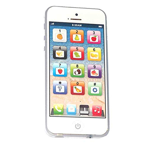 Cooplay White Yphone Y-Phone Children Replacement Phone Toys Play Piano Music Learning English Educational Cell Phone Mobile Study Best Gift Prize for Baby Kids