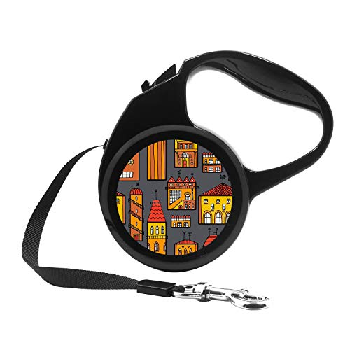 Retractable Dog Leash, 7ft Dog Walking Leash for Small Dogs up to 26lbs, One Button Break & Lock, Unique Design - City Architecture Pattern