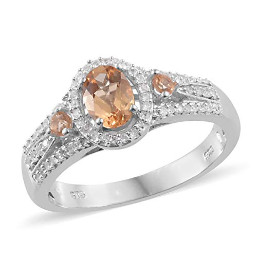 925 Sterling Silver Platinum Plated Imperial Topaz Zircon Ring for Women Size 7 Cttw 1.2