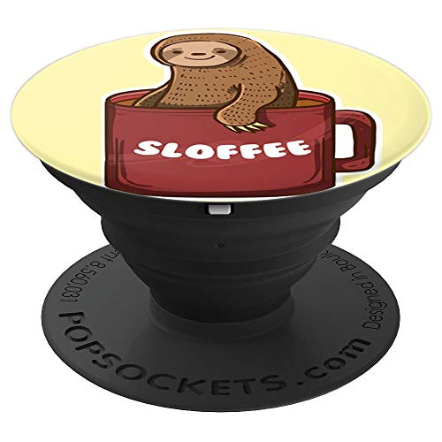 Sloffee Funny Lazy Animal Sloth Mug Coffee Lovers Gift - PopSockets Grip and Stand for Phones and Tablets