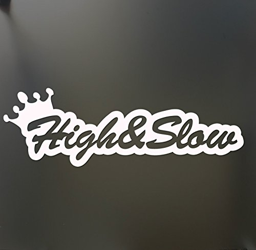 High & Slow sticker Funny Ford Chevy dodge lifted lowered truck window decal, Die cut vinyl decal for windows, cars, trucks, tool boxes, laptops, MacBook - virtually any hard, smooth surface