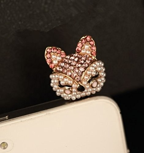 Tiny Chou Cute Bling Crystal Diamond and Pearl Fox 3.5 mm Ce
