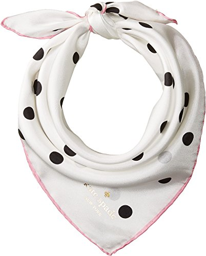 Kate Spade New York Women's Dancing Dot Bandana Cream/Parisian Pink One (Dot Silk Scarf)