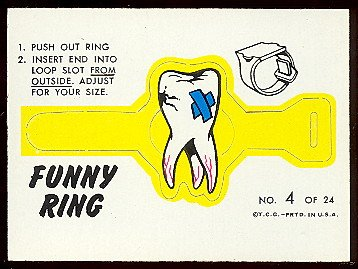 1966 Topps Funny Ring (Football) Card# 4 tooth ache Ex Condition