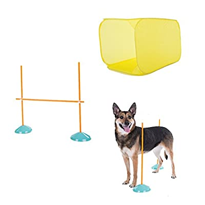 Outward Hound Kyjen 41003 Zip Zoom Indoor Dog Agility Starter Kit with Dog Tunnel Weave Pole High Jump Obstacles, Large, Multicolor
