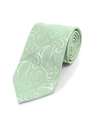 Neckties Sage - Men's Sage Paisley 100% Microfiber Poly Woven Wedding Neck Tie
