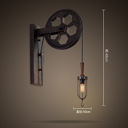 HOMEE Wall lamp- loft industrial style retro wall lamp wall lamp creative lifting pulley personalized restaurant corridor aisle wall lamp --wall lighting decorations ( style : a ),B by HOMEE