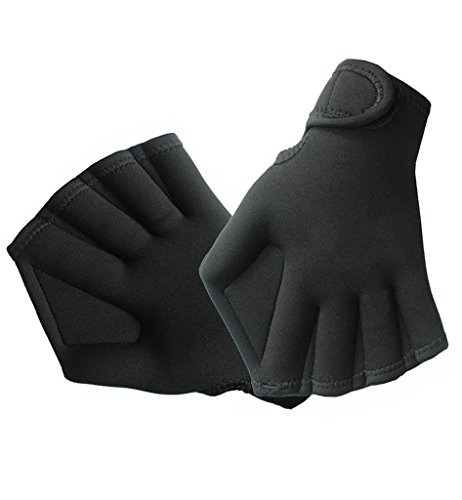 Fingerless Water Aquatic Webbed Swim Gloves for Water Resistance Swimming Surfing Training with Velcro Strap Unisex for Men and Women 1Pair, Black