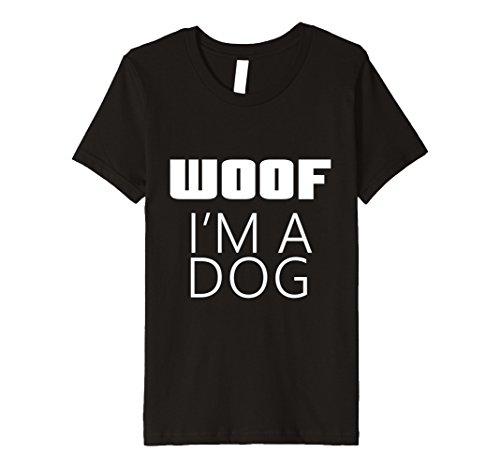 Woof Boy Costume (Kids I'm A Dog Woof Costume for Halloween Parent Mom Dad T-Shirt 8 Black)