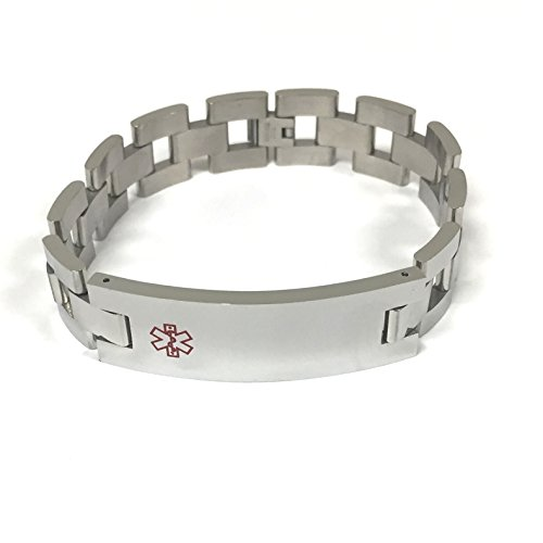 TravelJewelry.com Stainless Steel 9'' Medical Men's ID Bracelet by TravelJewelry.com (Image #1)