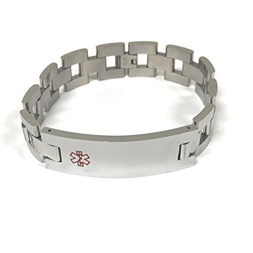 TravelJewelry.com Stainless Steel 9'' Medical Men's ID Bracelet by TravelJewelry.com