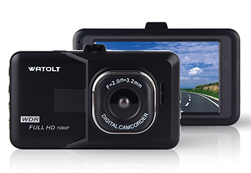 Watolt Dash Cam - 3.0' Large LCD Dash Camera Recorder for Cars Trucks, with Auto On Off, Loop Recording, and G-Sensor Emergency Recording