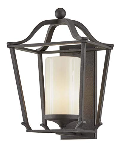 Troy Lighting B6853 Princeton Large Wall Sconce, French Iron with Opal White Glass