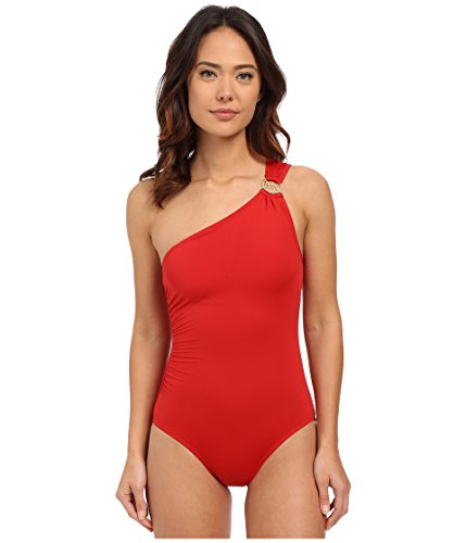 Michael Michael Kors Women's Logo Ring Shoulder Maillot One-Piece, Red, 6 (Michael Kors Rings Size 6)