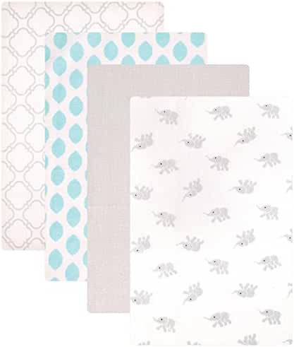 Luvable Friends Flannel 4 Piece Receiving Blankets, Elephant
