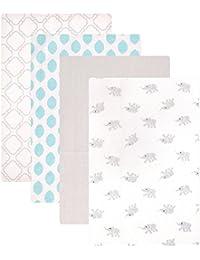 Flannel 4 Piece Receiving Blankets, Elephant