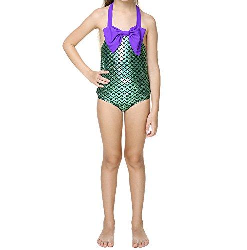 Swimsuit Little Girls (Little Girls swimsuits for girl one piece Mermaid Princess Toddler Bikini Swim Bathing Suit+headband)