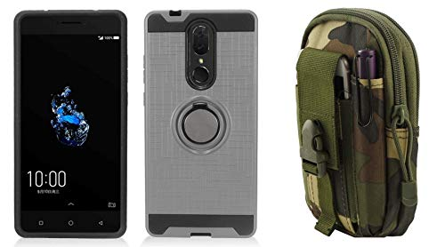 Bemz Holder Series Compatible with Coolpad Legacy (2019) Case Bundle with Ring Stand Car Mount Friendly Hybrid Cover (Dark Grey), MOLLE Carrying Pouch (Jungle Camo) and Atom Cloth ()