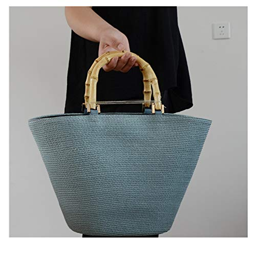 shoulder color matching striped straw tote Bamboo grass woven bag blue