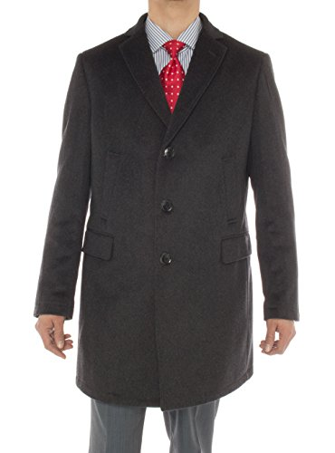 Luciano Natazzi Men's Cashmere Trench Coat Classic Modern Topcoat Overcoat (42 US - 52 EU, Charcoal (Lining Full Length Top Coat)
