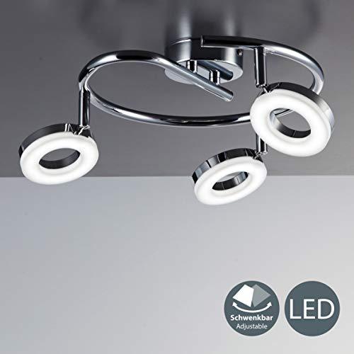LED Lampara de techo moderna I Foco en forma de espiral incl. 3x4,5W bombillas I Luz blanco calido 3000K I Giratorio y orientable I Color Cromado I Plastico y metal I 230V IP20