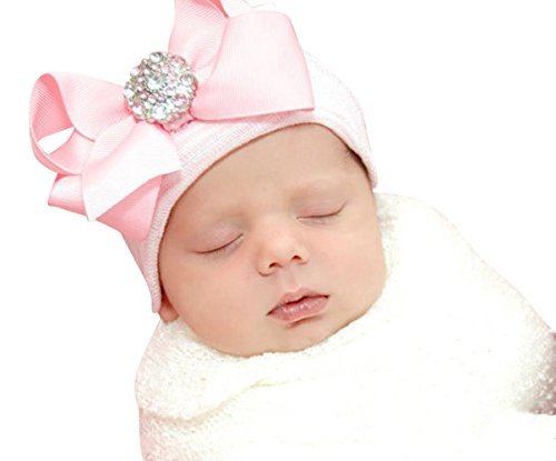 7f6498d84 Infanteenie Beenie pink grosgrain bow on a pink and white stripe baby girl  newborn hospital hat - Buy Online in Oman.   Apparel Products in Oman - See  ...