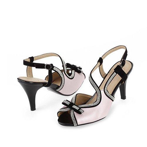 weiches VogueZone009 Bowknot PU 3 Diamant feste Material Sandalen Womens mit Toe High Pink und Glas Peep UK 5 Open Heel ZZxr0
