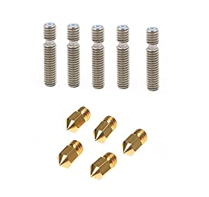 Happisland 5Pcs 26mm M6 Nozzle Throat + 5Pcs 0.4mm 3D Printer Extruder Brass Nozzle for MK8 Makerbot Reprap Prusa I3 by Happisland