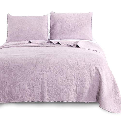 KASENTEX Ultra Soft Stone-Washed Quilt Set 100% Cotton Contemporary Floral Lace Design Bedspread Lightweight Comforter Coverlet Bedding w/Pillow Cover Shams, QUEEN90X88+20X26 X2, Purple-C