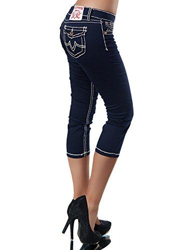 Mujer Marino Para Capri jeans Azul Vaqueros Diva Básico qpFw8O8X