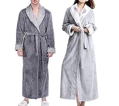 New Men Women Winter Extra Long Thick Warm Flannel Bathrobe Luxury Fur Soft Silk Male Robes