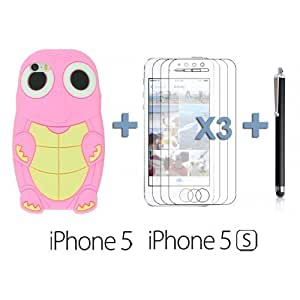 LJF phone case OnlineBestDigital - Turtle Style 3D Silicone Case for Apple iPhone 5S / Apple iPhone 5 - Pink with 3 Screen Protectors and Stylus