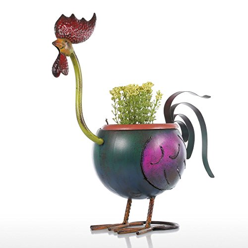 Rooster Pot - Rooster Flower Pot Garden Fower Pots Plastic Decoration Gift Plant in Pot Home Decoration Mini Pot Metal Multicolor