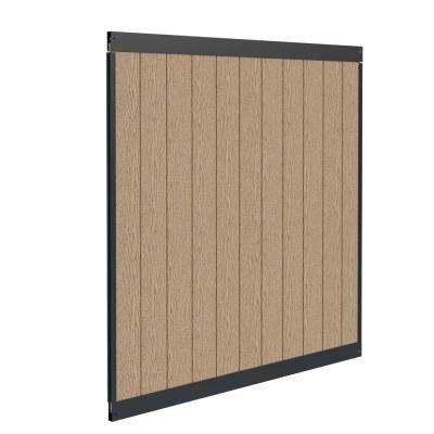 Urban 6 ft. H x 6 ft. W Birchwood Vinyl and Matte Black Aluminum Privacy Fence Panel Kit (Privacy Fence Art)