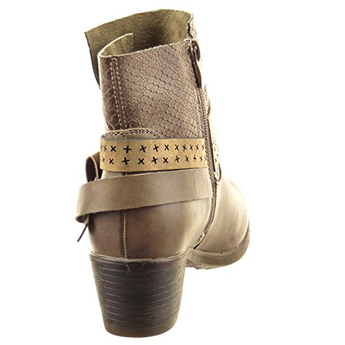 Sopily - damen Mode Schuhe Stiefeletten Biker Schlangenhaut Multi-Zaum Nieten - besetzt - Khaki