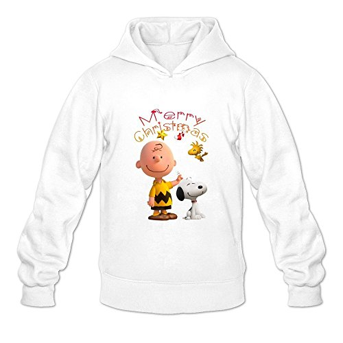Men's Peanuts Movie 2015 Snoopy Christmas Design Hoodies Sweatshirt White Size -
