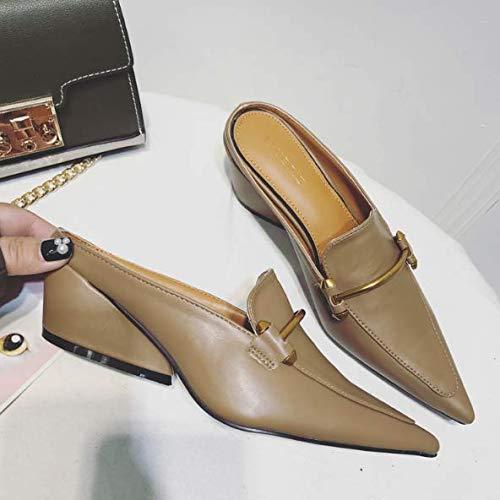 già KOKQSX e 35 sandali i le baotou pantofole sandali wild cachi semi 1dn0dv