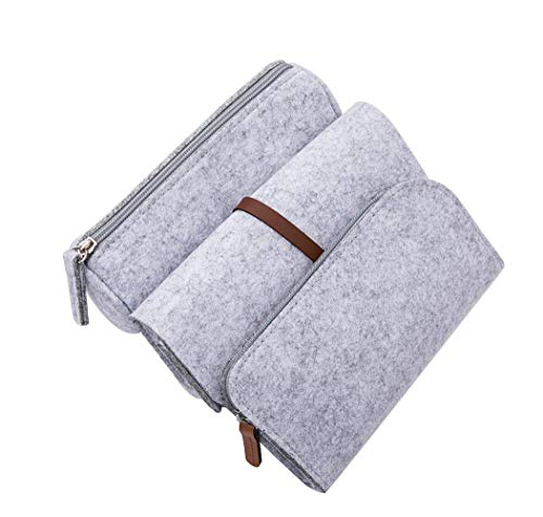 (Penta Angel Stationery Pouch Bag 3Pcs Cosmetic Pen Pencil Stationery Pouch Bag Case Felt Zipper Bag Holder Organizer for School Office Business Trip Supplies (Light Gray))