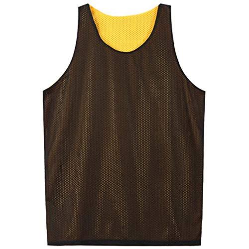 Yellow Mesh Tank Top - TOPTIE Men's Tank Top, Reversible Mesh Tank, Basketball Jerseys, Lacrosse Jersey-Black/Yellow-XL
