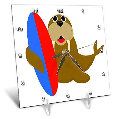 - 3dRose AllSouthernDesignTees - Beach - Cool Funny Walrus Holding a Surfboard is The Best for Beach Lovers. - 6x6 Desk Clock (dc_305917_1)
