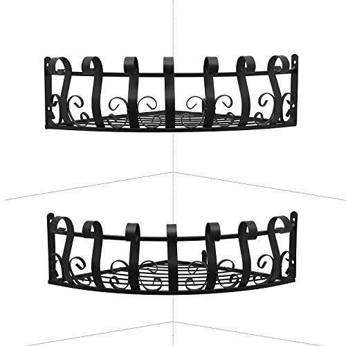 FOYO Metal Corner Shelves Planter Stand, Floating Wall Shelves for Garden Pack of 2 (Large Size-11'') (Stand Corner Planter)