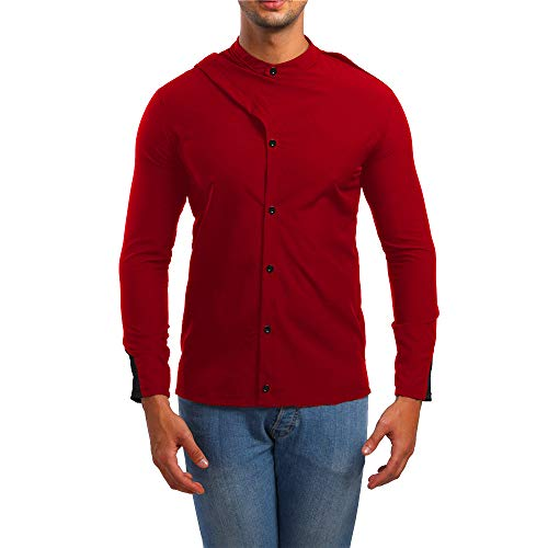 iLXHD 2018 Men's Personality Button Down Slim Long Sleeve Solid T Shirt Blouse (Red,US L/CN 2XL) -