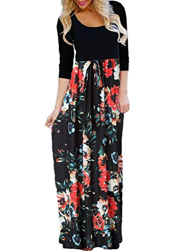OURS Women's Casual 3/4 Sleeve Floral Print Dresses Ethnic Style Party Long Maxi Dresses with Pockets (A-Floral 3, XXL)