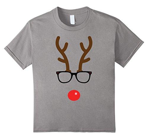 Kids Rudolph The Red Nose Reindeer Nerd Geek Christmas T-Shirt 6 Slate (Cute Girl Nerd Costumes Halloween)