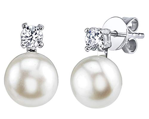 THE PEARL SOURCE 7-8mm Genuine White Freshwater Cultured Pearl & Cubic Zirconia Rosalie Earrings for Women