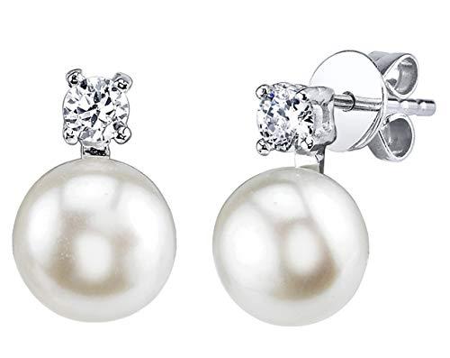 Pearl Earrings Culture (THE PEARL SOURCE 7-8mm Genuine White Freshwater Cultured Pearl & Cubic Zirconia Rosalie Earrings for Women)