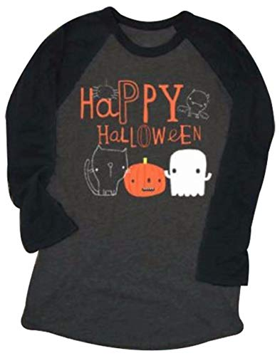 Happy Halloween Pumpkin Face Printed T-Shirt Womens Long Sleve Splicing Tops Blouse Size S -