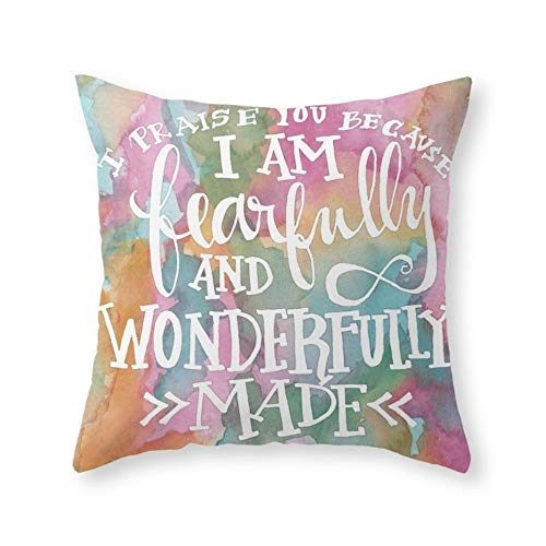 Fearfully and Wonderfully Made - Watercolor Scripture Throw Pillow Indoor Cover (18