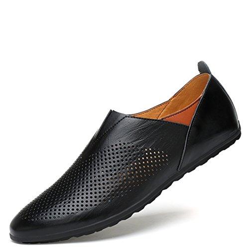 Minitoo Boys Mens Mesh Breathable Slip-On Comfortable Loafers Black