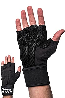 Mava Sports Workout Gloves with Wrist Support & Silicone Padding for Men and Women